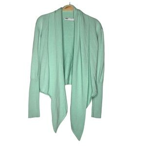 FOX Draped Open Front Knit Cardigan in Mint color